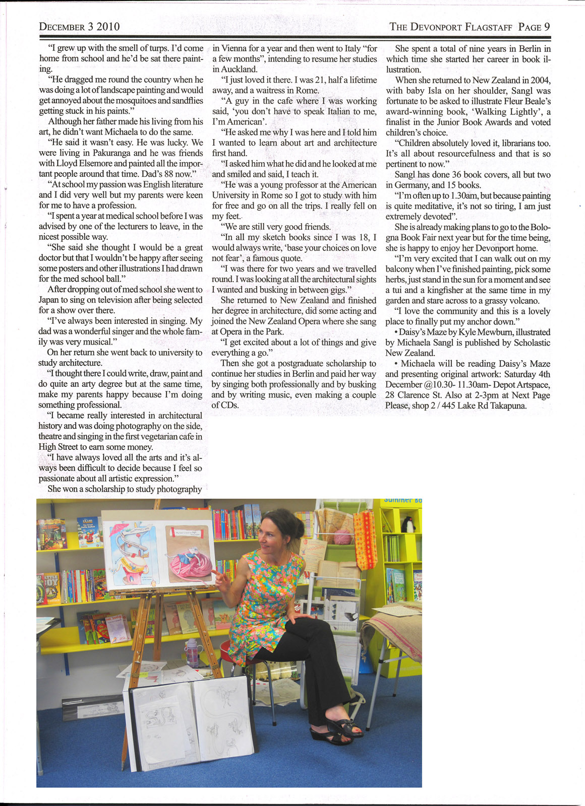 Sangl_Flagstaff article about kids book illustrator