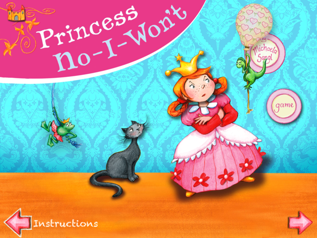 This is a screenshot of Princess No-I-Won't interactive book app for itunes ipad iphone